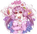 breasts bust double_bun flower hat hat_flower himuro himuro_(dobu_no_hotori) long_hair original pullover purple_hair solo twintails
