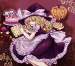 :q apron blonde_hair book cake candy chocolate colored_eyelashes cup flower food frilled_skirt halloween hat hose_beniko jack-o'-lantern jack-o'-lantern kirisame_marisa lollipop long_skirt lying puffy_sleeves pumpkin red_rose rose short_sleeves skirt solo star sweets tea teacup teapot tongue touhou traditional_media witch witch_hat