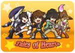 3boys armor beryl_benito black_hair blonde_hair brown_hair gloves hisui_hearts kohak_hearts kunzite kuren long_hair low-tied_long_hair multiple_boys multiple_girls orange_background paintbrush pants shing_meteoryte shorts star tales_of_(series) tales_of_hearts title_drop