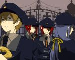 4boys ace_(kuni_no_alice) alternate_costume brown_hair cross dual_persona eyepatch gate grin guards hair_ribbon hand_on_hip hat heart heart_no_kuni_no_alice hips joker_(kuni_no_alice) julius_monrey multiple_boys necktie nonn peaked_cap purple_eyes purple_hair red_eyes red_hair redhead ribbon shaded_faced smile uniform violet_eyes weapon