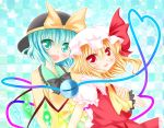 2girls blue_eyes flandre_scarlet green_eyes green_hair hat hat_ribbon komeiji_satori multiple_girls red_eyes ribbon short_hair side_ponytail third_eye touhou white_water wings