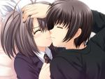1girl black_hair blush bow closed_eyes eyes_closed game_cg hair_bow kiss long_hair narita_hayato necktie nishimata_aoi ootori_naru oretachi_ni_tsubasa_wa_nai school_uniform short_hair side_ponytail smile