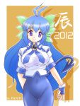 1girl 2012 blue_hair breasts demon_tail large_breasts long_hair looking_at_viewer miwajou original panto simple_background smile solo tail very_long_hair violet_eyes