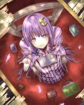 bad_perspective book bow chair crescent from_above gurasion_(gurasion) hair_bow hair_ornament highres indoors long_hair looking_at_viewer looking_up no_hat no_headwear open_hand patchouli_knowledge perspective petals purple_eyes purple_hair sitting solo touhou very_long_hair violet_eyes