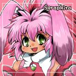 animal_ears bunny_ears character_name green_eyes multicolored_hair pink_background pink_hair red_hair redhead seraphita short_hair smile solo two-tone_hair xenogears yamabuki_natsume