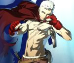 bandaid cape evoker fighting_stance fingerless_gloves gloves holster knife lowres male official_art persona persona_3 persona_4:_the_ultimate_in_mayonaka_arena sanada_akihiko scar shirtless short_hair soejima_shigenori solo topless white_hair