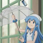 animated animated_gif blue_eyes blue_hair dress gif hat hypnotic ikamusume long_hair lowres shinryaku!_ikamusume solo tentacle_hair transparent_umbrella umbrella