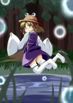artist_request blush forest hat jumping moriya_suwako nature nihyakumasuta pond short_hair smile solo thigh-highs thighhighs touhou yellow_eyes