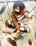 1girl black_hair brown_eyes highres jacket mikasa_ackerman scarf shingeki_no_kyojin short_hair solo sword three-dimensional_maneuver_gear umakatsuhai weapon