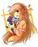 frills hair_ribbon hanato_kobato heart hotate hug ioryogi kobato. ribbon wink
