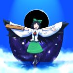 asymmetrical_clothes bow cape hair_bow kansuke_(artist) mismatched_footwear outstretched_arms reiuji_utsuho solar_eclipse spread_arms touhou weapon wings