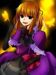 alternate_hairstyle blue_eyes bow butterfly dress elbow_gloves eva_beatrice flower gloves orange_hair rose side_ponytail solo twintails umineko_no_naku_koro_ni