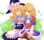 arm_warmers bad_id blonde_hair capelet green_eyes hat kirisame_marisa mizuhashi_parsee multiple_girls touhou zawameki