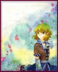 blonde_hair cherry_blossoms green_eyes mizuhashi_parsee neckerchief pointy_ears shiroaisa touhou traditional_media watercolor_(medium)