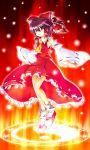 akishisu_(air_balance) bow brown_hair colored detached_sleeves hair_bow hakurei_reimu legs leon_7 magic_circle red_eyes short_hair solo touhou