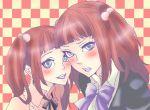 blue_eyes blush bow checkered checkered_background dual_persona hair_bobbles hair_ornament nero_(koyuki) red_hair redhead resized smile time_paradox twintails umineko_no_naku_koro_ni ushiromiya_ange young