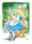 alice_(wonderland) blonde_hair bow dress hair_bow kan_satomi long_hair
