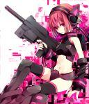 bad_id bikini_armor gun nail_polish navel neon_trim original pink_eyes pink_hair short_hair solo submachine_gun thighhighs weapon yuzuki_karu