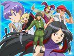 4boys azami_(pokemon) datsura_(pokemon) heath_(pokemon) jindai_(pokemon) kogomi_(pokemon) lila_(pokemon) multiple_boys multiple_girls poke_ball pokemon pokemon_(anime) ukon_(pokemon) wink