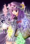 book bow breasts crescent crystal hair_bow hair_ribbon hat highres long_hair magic_circle patchouli_knowledge purple_eyes purple_hair ribbon solo touhou violet_eyes