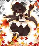 bird bob_cut book crow female frills furry hat kishibe leaf maple_leaf ruffles shameimaru_aya skirt touhou wings