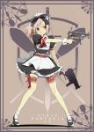 :p :q apron belt blush bow bowtie dual_wielding gun h&k_mp5k hair_bow headband headdress heart heckler_&_koch holster horns kl knife legs maid maid_headdress male miniskirt original outstretched_arm pink_hair pixiv pixiv_fantasia pixiv_fantasia_4 pointy_ears puffy_sleeves red_eyes ribbon short_hair skirt socks solo standing submachine_gun thigh-highs thigh_holster thigh_strap tongue trap weapon