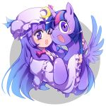 >_o 1girl ;d cheek-to-cheek crossover hat horn hug long_hair looking_at_viewer mob_cap my_little_pony my_little_pony_friendship_is_magic one_eye_closed open_mouth patchouli_knowledge pony purple_hair smile touhou twilight_sparkle violet_eyes xin_yu_hua_yin