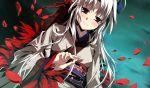 blush feathers g_yuusuke game_cg highres japanese_clothes kajiri_kamui_kagura kimono kyougetsu_sakuya light_smile petals red_eyes solo tears white_hair