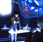 black_hair epaulettes eva_01 gendou_pose gloves hands_clasped hologram ikari_gendou light military military_uniform neon_genesis_evangelion ponytail s_zenith_lee uniform