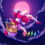 1girl ascot blonde_hair flandre_scarlet full_moon hat hat_ribbon highres mary_janes moon night open_mouth outstretched_arms pirorun red_eyes red_moon ribbon shoes short_hair side_ponytail skirt skirt_set smile solo touhou wings