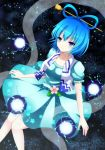 bad_id blue_eyes blue_hair danmaku dress electricity flower hair_rings hair_stick kaku_seiga smile solo soraneko soraneko93 touhou vest
