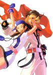 1girl \m/ ^_^ ai_(snk) baseball_cap blonde_hair brown_hair closed_eyes eisuke_ogura eyes_closed fingerless_gloves gloves happy hat minidress multicolored_hair neo_geo_battle_coliseum neo_geo_pocket_color official_art ogura_eisuke scarf short_twintails snk track_suit twintails two-tone_hair yuki_(snk)