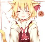 1girl animal_ears blonde_hair blush cat_ears cat_tail closed_eyes hair_ribbon misa_(kaeruhitode) open_mouth ribbon rumia short_hair smile solo tail touhou