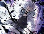 accelerator albino choker crazy_eyes debris glowing glowing_eyes grin issa_(sorako45) jacket pants red_eyes shirt short_hair silver_hair smile smirk solo striped striped_shirt to_aru_majutsu_no_index white_hair