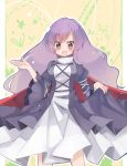 hijiri_byakuren long_hair oinari_(tensaizoku) open_mouth purple_eyes purple_hair sakutiki skirt_hold smile solo touhou violet_eyes