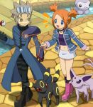 1girl blue_eyes boots brown_hair castform choker espeon jewelry leo_(pokemon) mirei_(pokemon) open_mouth orange_hair pendant poke_ball pokemon pokemon_(game) pokemon_colosseum skirt soara throwing_poke_ball umbreon yellow_eyes