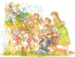 4girls angel brown_hair closed_eyes cup dog eyes_closed flower happy harp ina_(gonsora) instrument mug multiple_boys multiple_girls old_man original paintbrush painting plant ponytail pregnant short_hair sitting slippers star traditional_media trumpet violin watercolor_(medium)