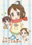 animal_costume blush_stickers bone brown_eyes brown_hair dog_costume glasses high_ponytail hirasawa_ui k-on! manabe_nodoka scarf short_hair sunameri_oishii young