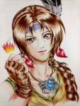 1girl braid brown_eyes brown_hair bust clenched_fist earrings eyelashes fingerless_gloves gloves head_feathers headband jewelry julia_chang lips long_hair necklace single_braid solo tank_top tekken