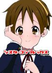 blush brown_eyes brown_hair hirasawa_ui k-on! ponytail ragho_no_erika school_uniform short_hair smile solo tears wiping_tears