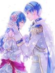 1boy 1girl aruba bare_shoulders blue_eyes blue_hair blush bouquet breasts bridal_veil bride cape cleavage couple dress elbow_gloves fire_emblem fire_emblem:_monshou_no_nazo fire_emblem_heroes flower formal gloves groom hetero husband_and_wife jewelry long_hair marth necklace open_mouth rose sheeda smile strapless suit tuxedo veil wavy_hair wedding wedding_dress white_dress white_flower white_gloves