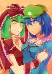 2girls arm_grab arm_ribbon blue_eyes blue_hair bow breast_press breasts frills green_eyes green_hair hair_bow hair_ornament hand_on_cheek hat heart kagiyama_hina kawashiro_nitori key lgw7 long_hair multiple_girls ribbon short_hair smile touhou twintails