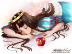 apple astarone brown_hair crown dress food fruit lips long_hair marchen puffy_sleeves schneewittchen sleeping solo sound_horizon