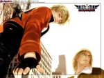 2boys blonde_hair building city fatal_fury fingerless_gloves from_below gloves jacket mark_of_the_wolves multiple_boys official_art rock_howard senno_aki snk terry_bogard wallpaper wink