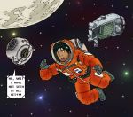 black_hair crossover drawfag english headband hoshino_hachirota hoshino_hachirouta male moon planetes portal portal_2 robot sky solo space space_core space_craft spacesuit spoilers star_(sky) starry_sky surprised zero_gravity