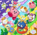 animal bird bow cat chuchu_(kirby) coo_(kirby) eel fish gooey gooey_(darkmatter) hair_bow hamster heart hoshi_no_kirby hoshi_no_kirby_3 kine_(kirby) kirby kirby's_dream_land_3 kirby_(series) nago_(kirby) no_humans octopus owl pink_puff_ball pitch_(kirby) rick_(kirby) star sweatdrop tagme tongue