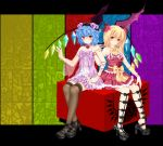 arm_ribbon bad_id bat_wings black_legwear blonde_hair blue_hair bow bracelet choker cube detached_sleeves dress flandre_scarlet flower hair_flower hair_ornament hat jewelry lace lace-trimmed_thighhighs leg_ribbon multiple_girls nail_polish nekokotei no_hat no_headwear pink_dress red_dress red_eyes remilia_scarlet ribbon_choker sash short_hair siblings side_ponytail single_sleeve sisters sitting_on_object smile thigh-highs thighhighs touhou wings wristband