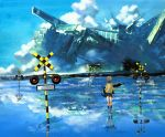 blue cloud from_behind green_hair gun house machine original pullover railroad_crossing railroad_signal reflection scenery school_uniform science_fiction skirt socks solo water weapon yellowish