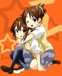 akira_(umihan) brown_eyes brown_hair hirasawa_ui hirasawa_yui hug hug_from_behind indian_style k-on! pantyhose ponytail school_uniform short_hair siblings sisters sitting wink