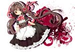 1girl apron brown_hair colored dress hair_ribbon heart highres long_hair looking_at_viewer maid_headdress original puffy_sleeves red_eyes ribbon sash shirt short_sleeves solo twintails very_long_hair waist_apron wanmi_(315)